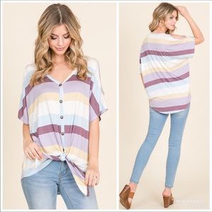🌻🛍Striped cold shoulder top with front tie